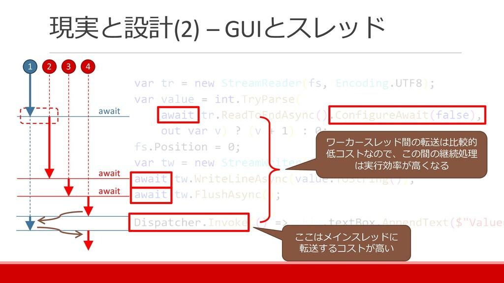 現実と設計(2) – GUIとスレッド 1 2 3 4 await await await ワ...