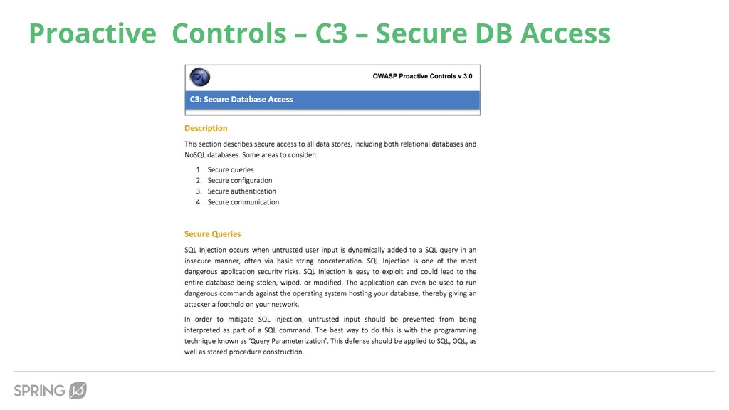 Proactive Controls – C3 – Secure DB Access