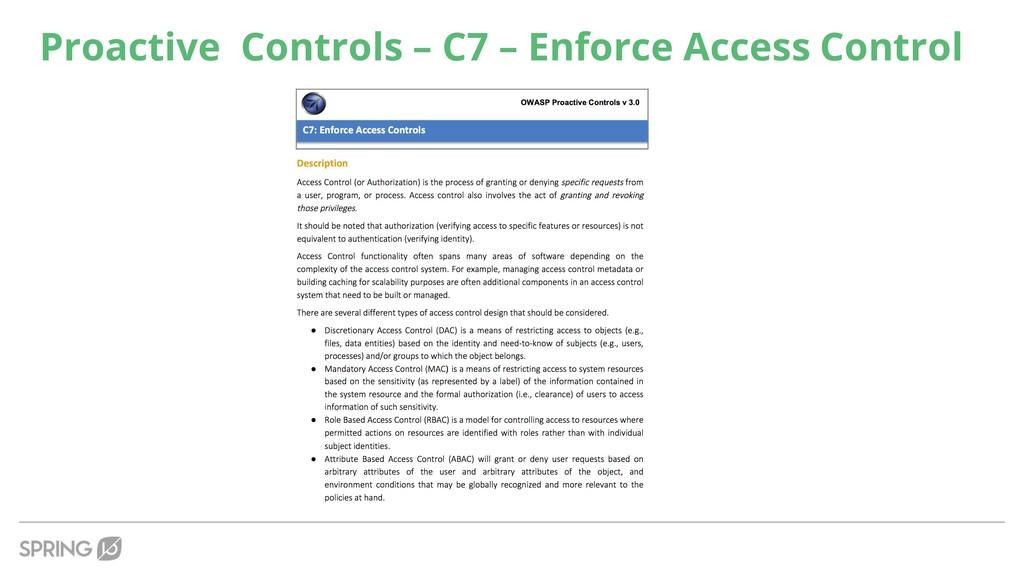 Proactive Controls – C7 – Enforce Access Control