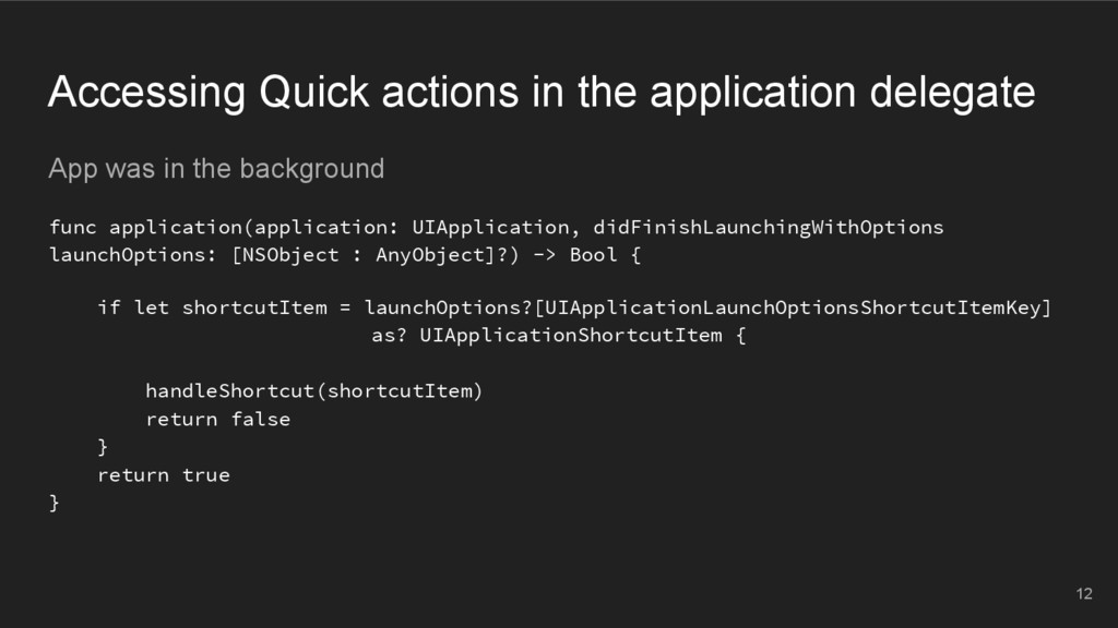 Accessing Quick actions in the application dele...