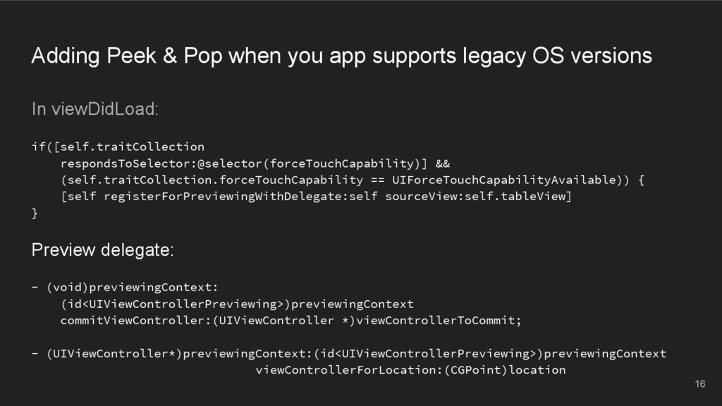 Adding Peek & Pop when you app supports legacy ...