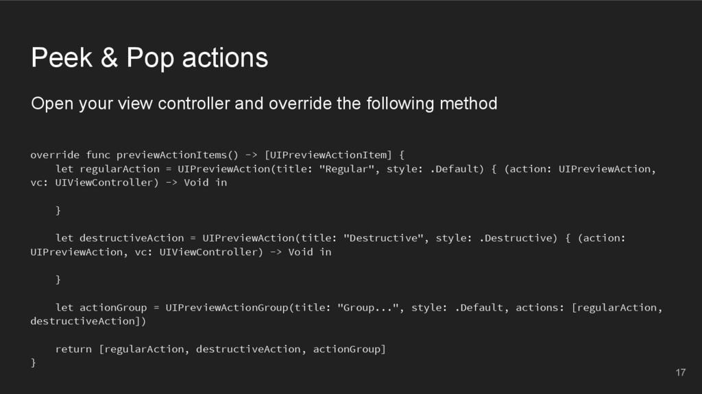 Peek & Pop actions override func previewActionI...