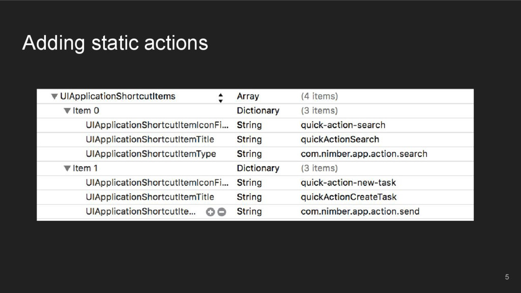 Adding static actions 5