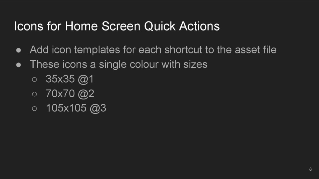Icons for Home Screen Quick Actions ● Add icon ...