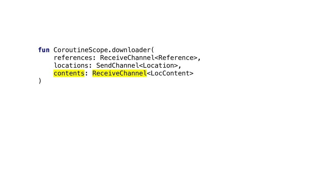 fun CoroutineScope.downloader( references: Rece...