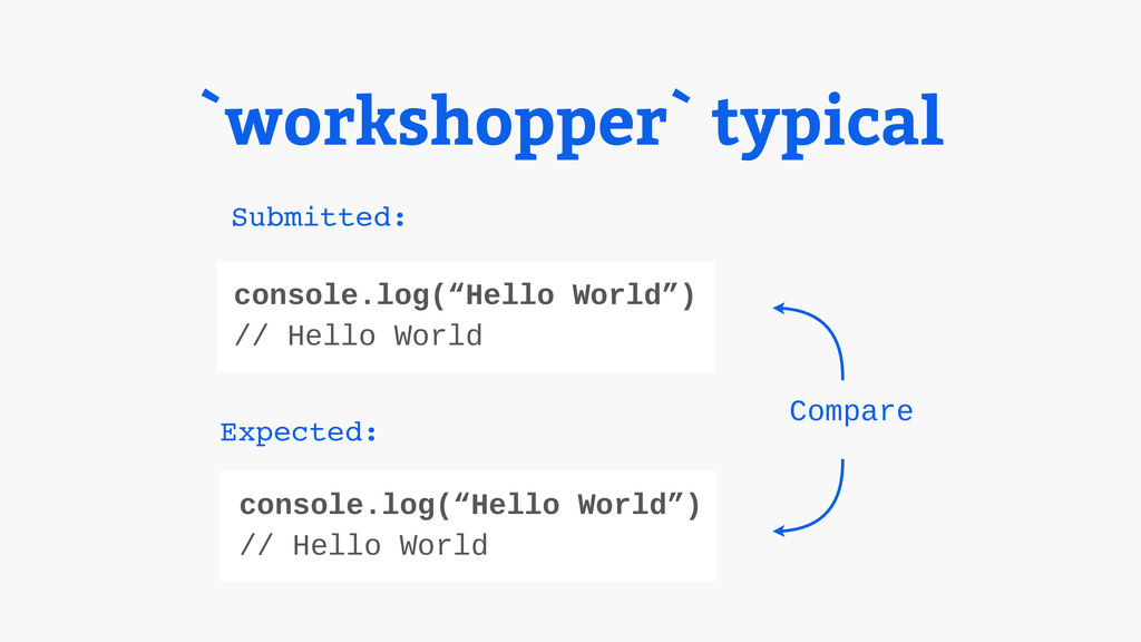 "`workshopper` typical Compare console.log(""Hell..."