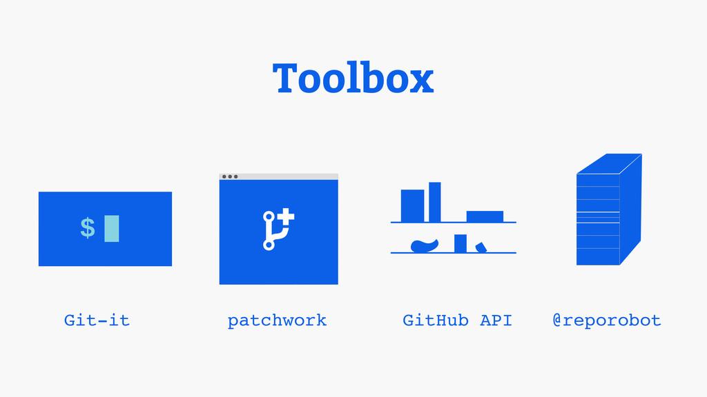 Toolbox $ Git-it patchwork GitHub API @reporobot