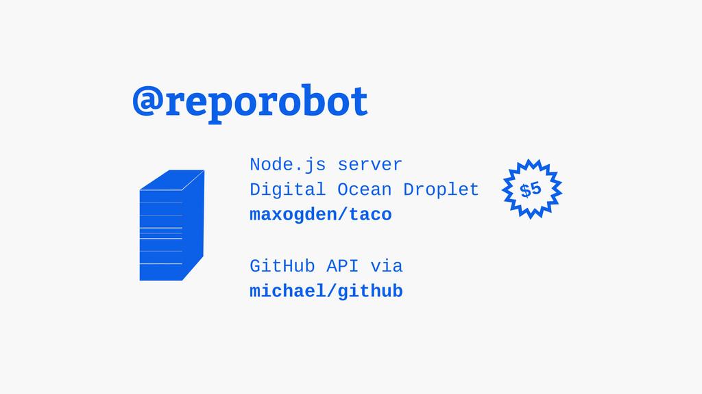 @reporobot Node.js server Digital Ocean Droplet...