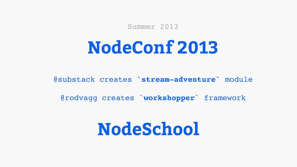 NodeConf 2013 @substack creates `stream-adventu...