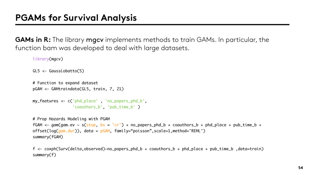 54 PGAMs for Survival Analysis GAMs in R: The l...