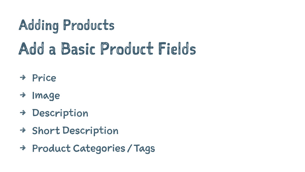 Adding Products Add a Basic Product Fields 4 Pr...