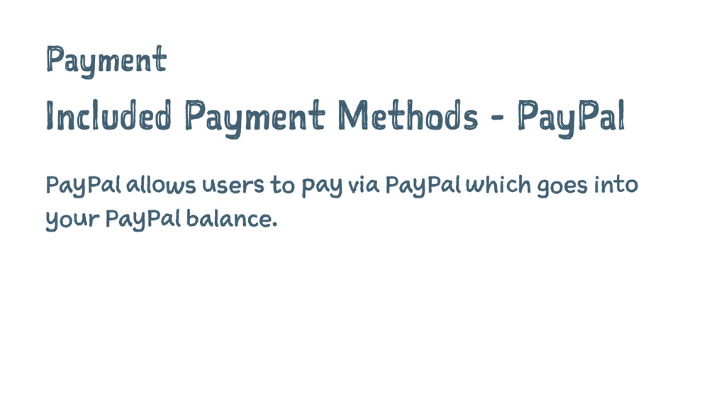 Payment Included Payment Methods - PayPal PayPa...