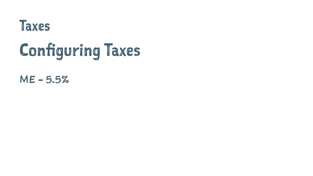 Taxes Configuring Taxes ME - 5.5%