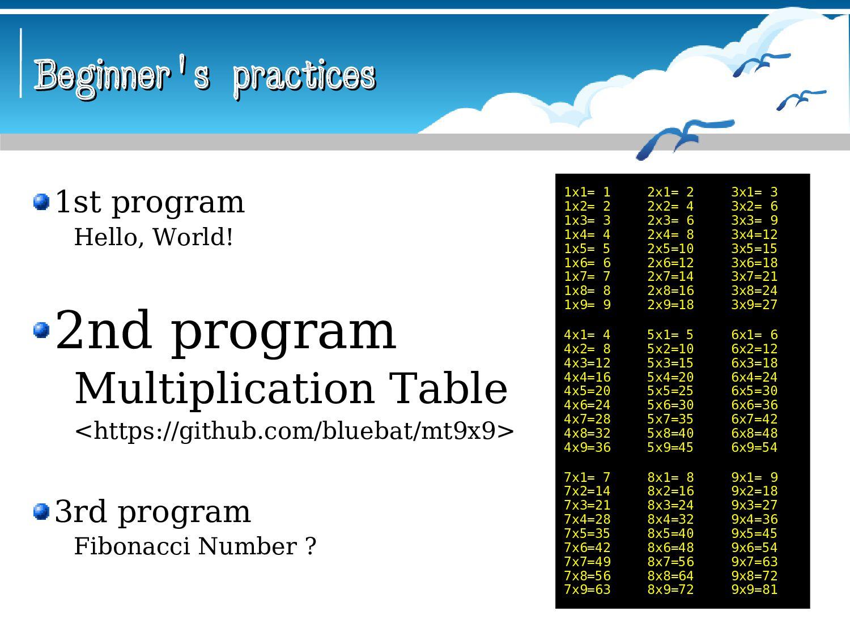 Beginner's practices Beginner's practices 1st p...
