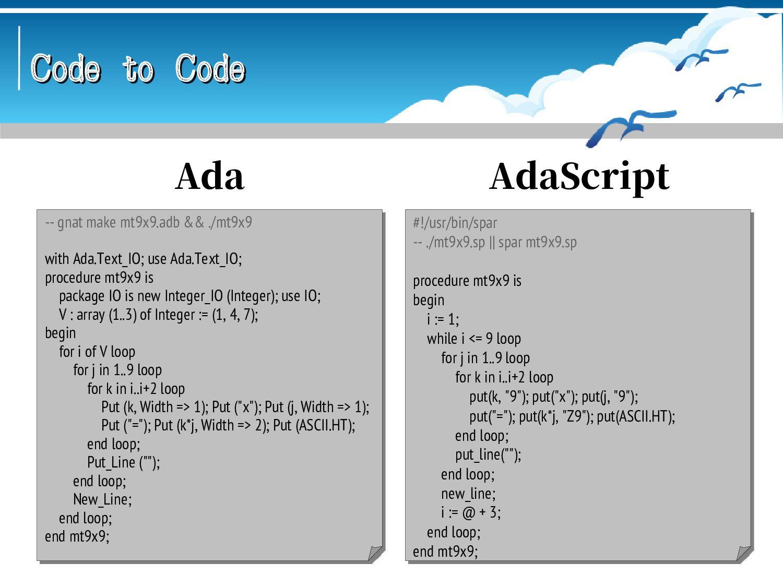 Code to Code Code to Code #!/usr/bin/mumps ; ./...