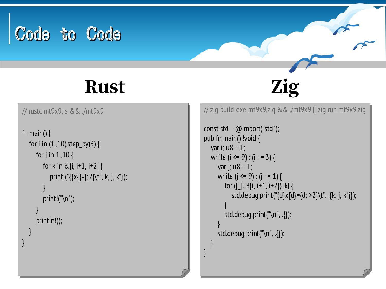 Code to Code Code to Code // scalac mt9x9.scala...