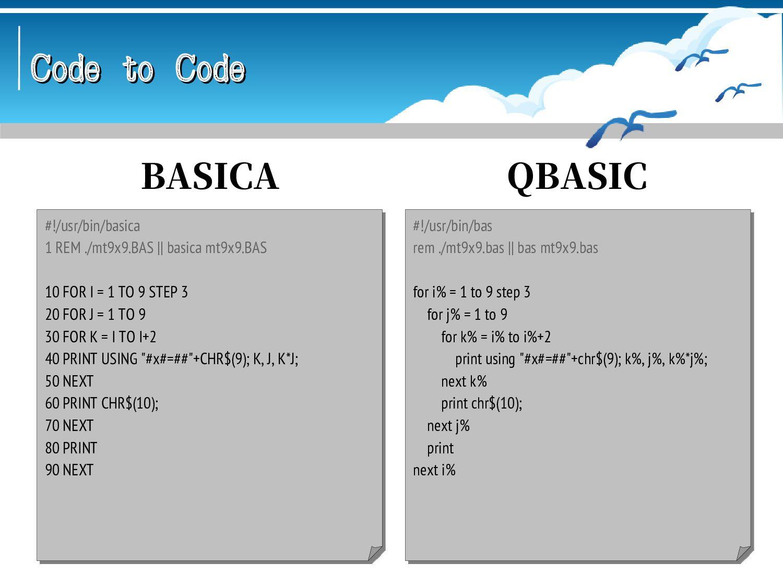 Code to Code Code to Code #!/usr/bin/basica 1 R...