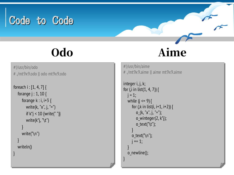 Code to Code Code to Code // ponyc -b mt9x9 && ...