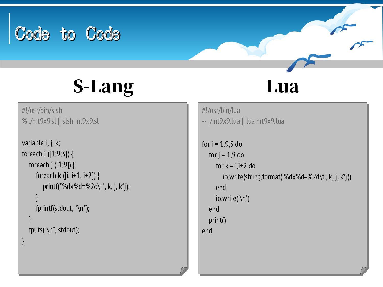 Code to Code Code to Code #!/usr/bin/nit # nitc...