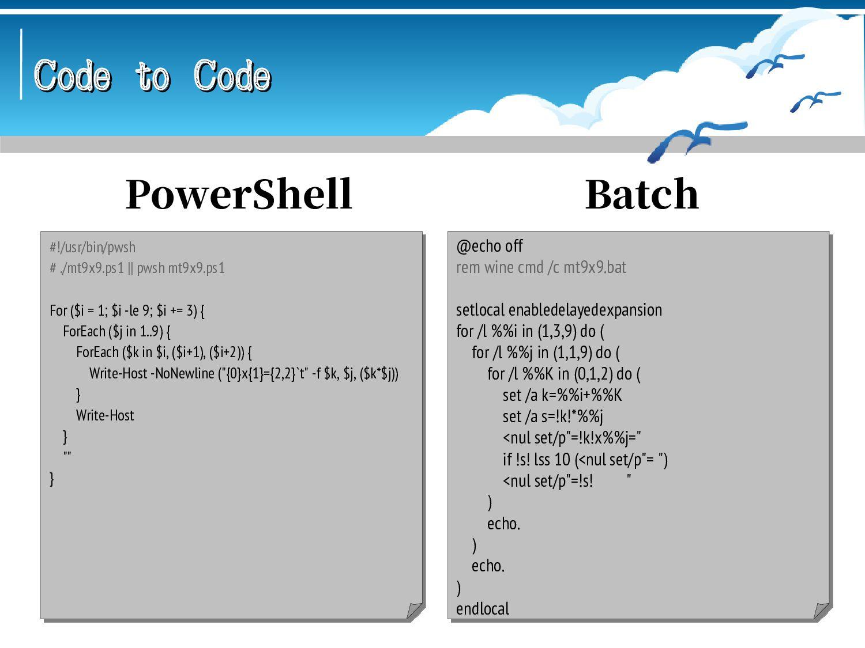 Code to Code Code to Code #!/usr/bin/thune ; ./...