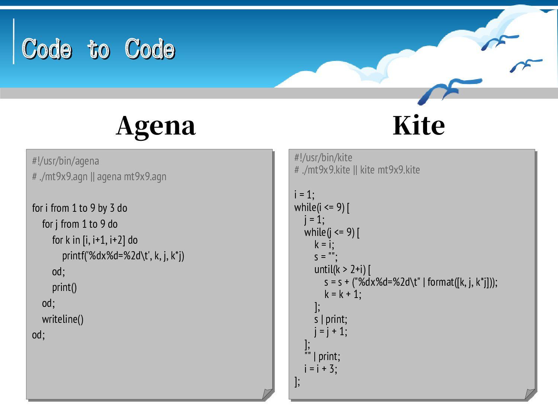 Code to Code Code to Code (* obnc mt9x9.obn && ...