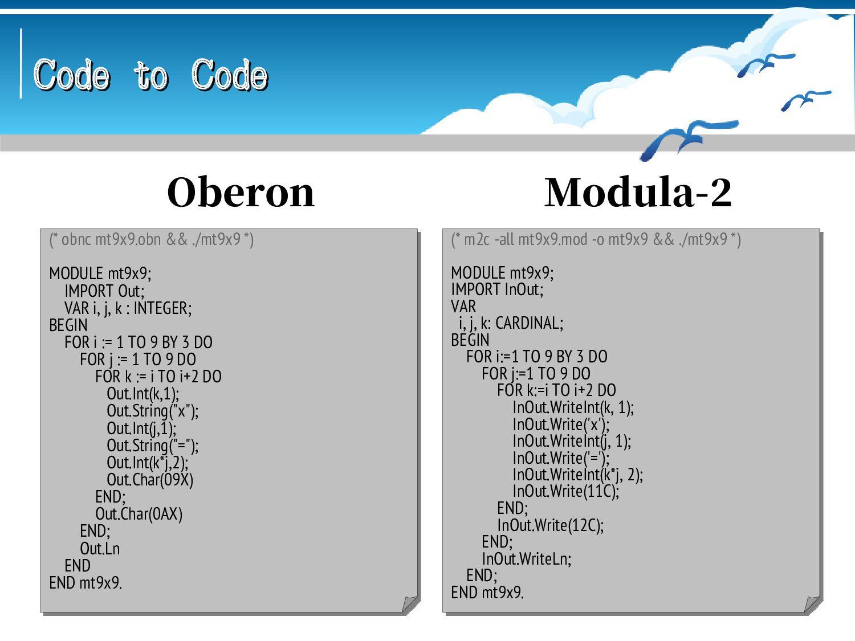 Code to Code Code to Code -- se c mt9x9.e -clea...