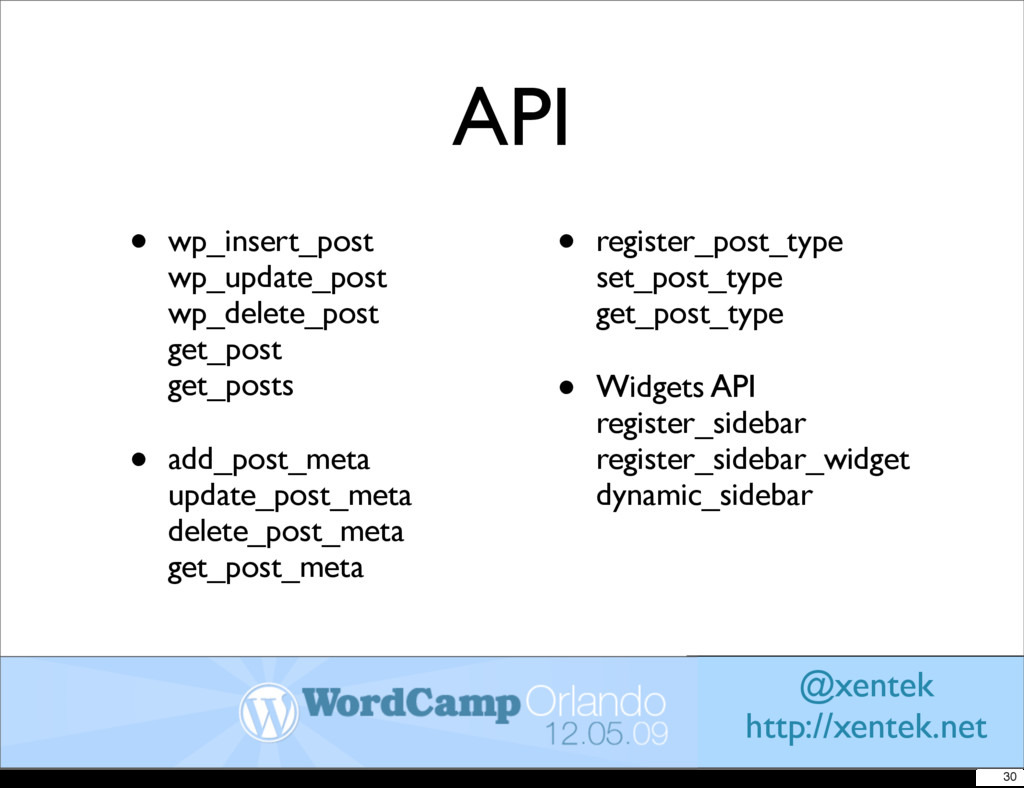API • wp_insert_post wp_update_post wp_delete_p...