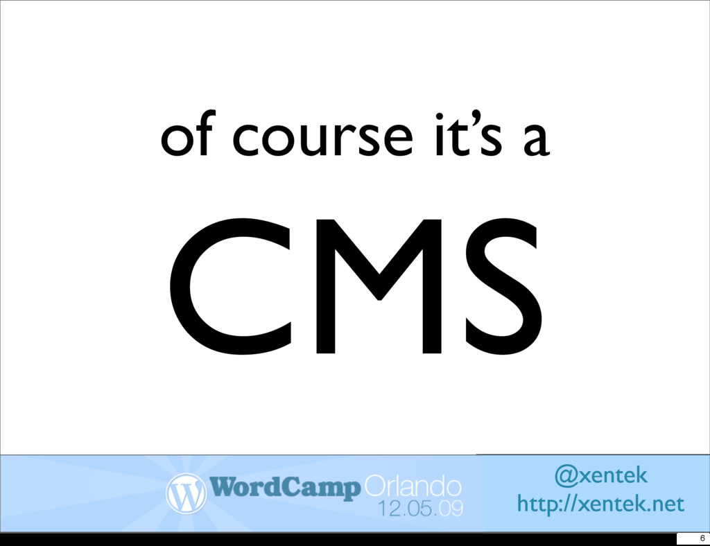 of course it's a CMS @xentek http://xentek.net 6
