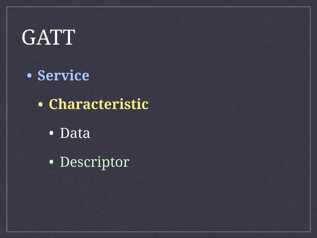 • Service • Characteristic • Data • Descriptor ...