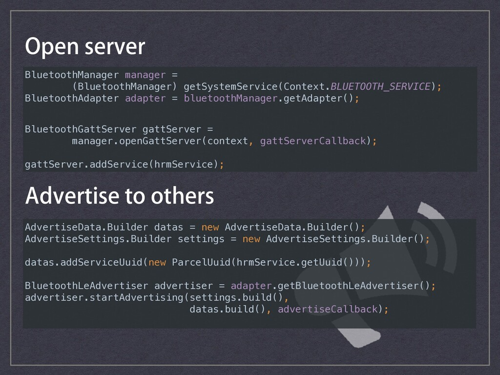 AdvertiseData.Builder datas = new AdvertiseData...