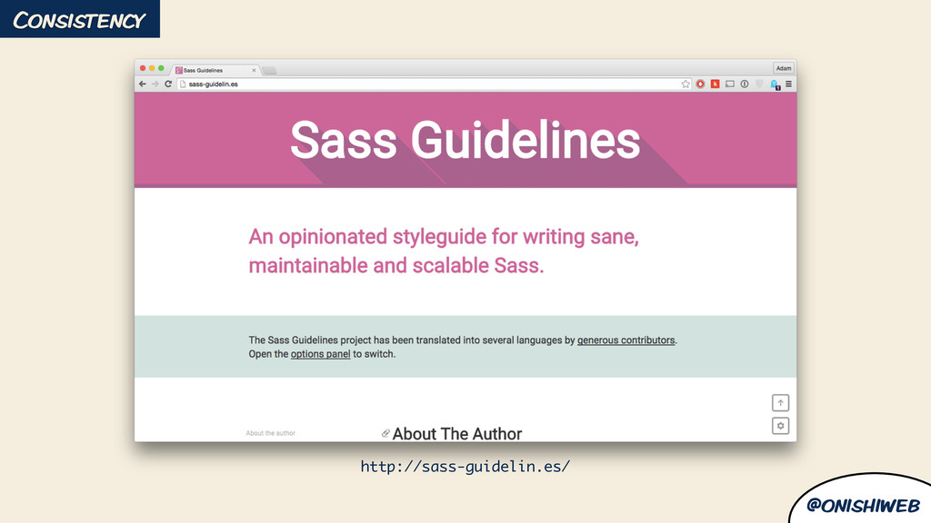 @onishiweb http://sass-guidelin.es/ Consistency