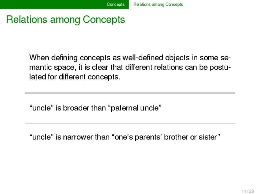 Concepts Relations among Concepts Relations amo...