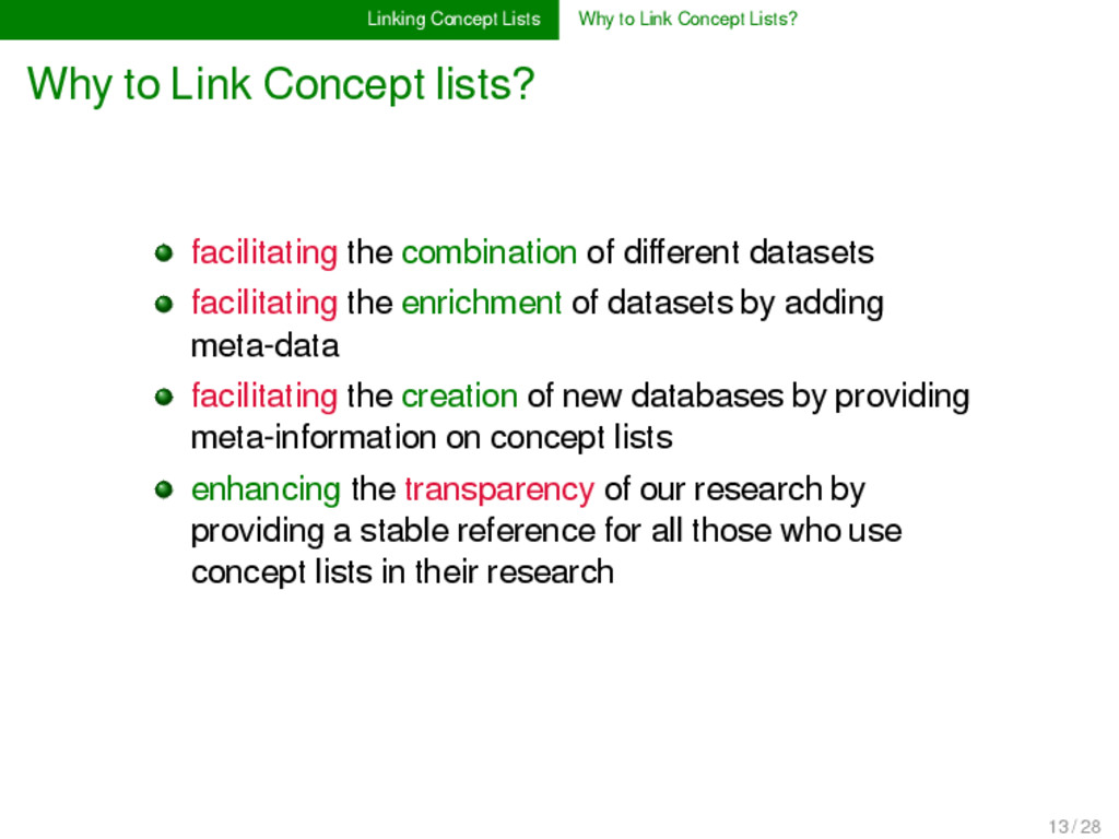 Linking Concept Lists Why to Link Concept Lists...