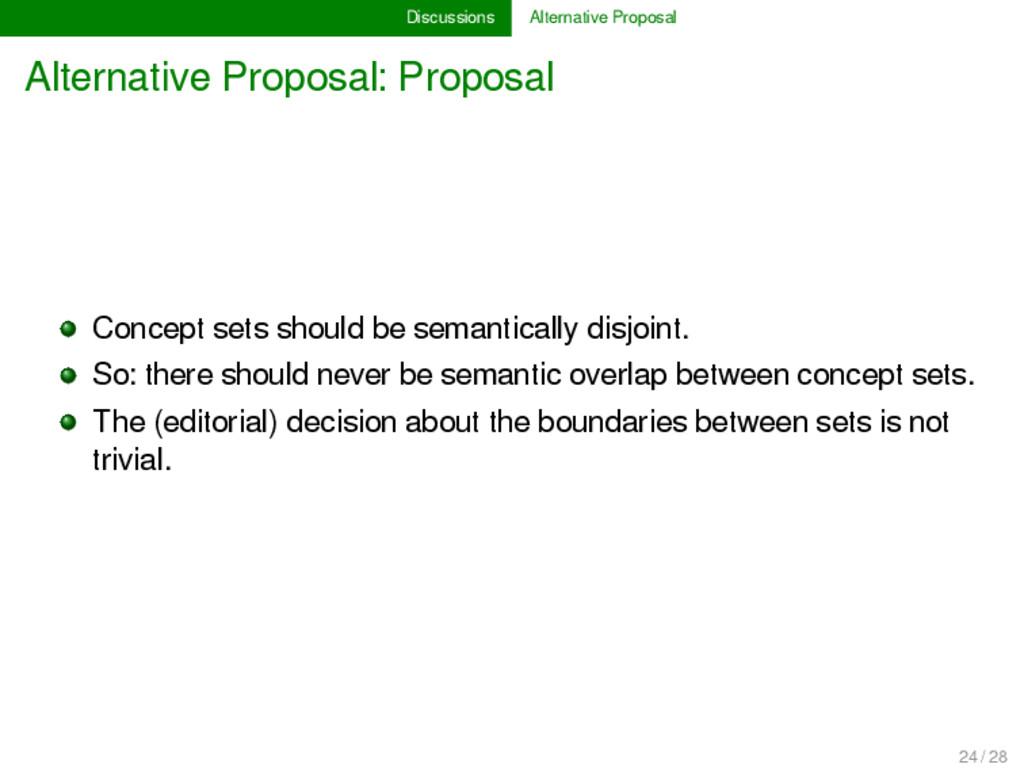 Discussions Alternative Proposal Alternative Pr...