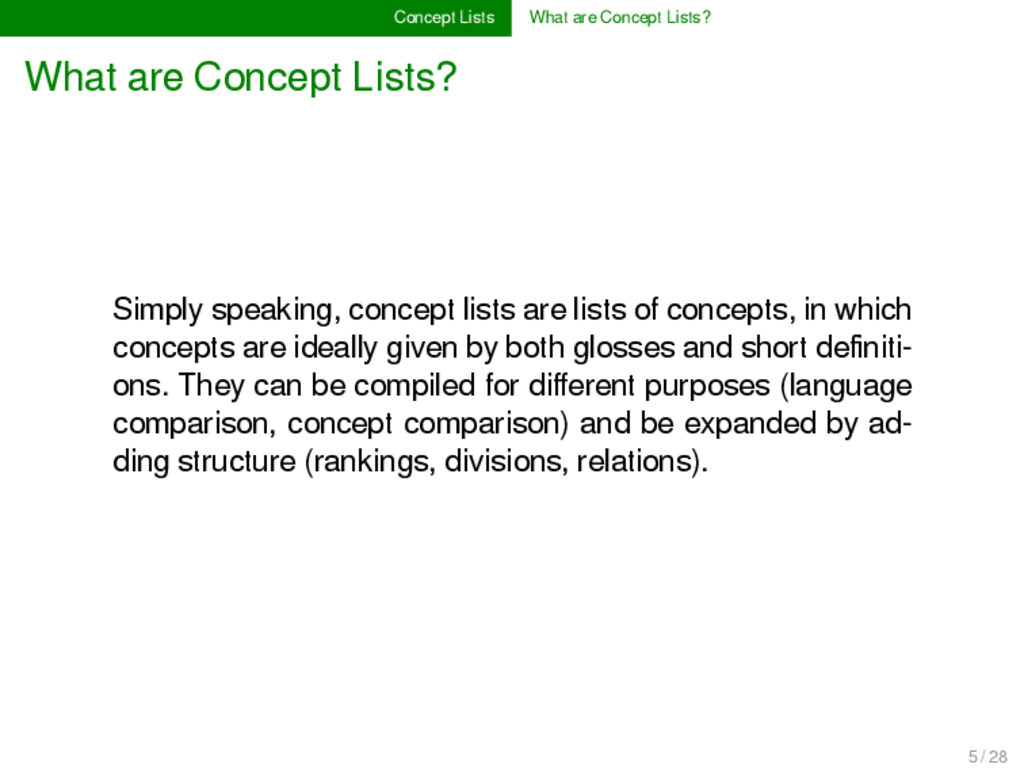 Concept Lists What are Concept Lists? What are ...