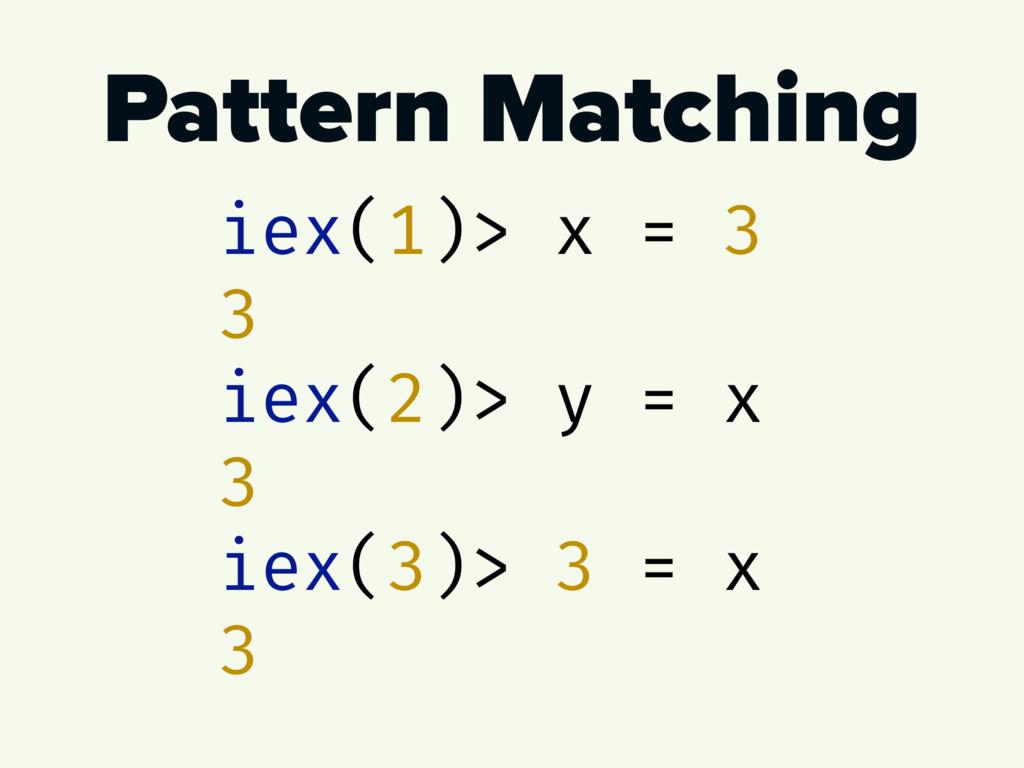 Pattern Matching iex(1)> x = 3 3 iex(2)> y = x ...
