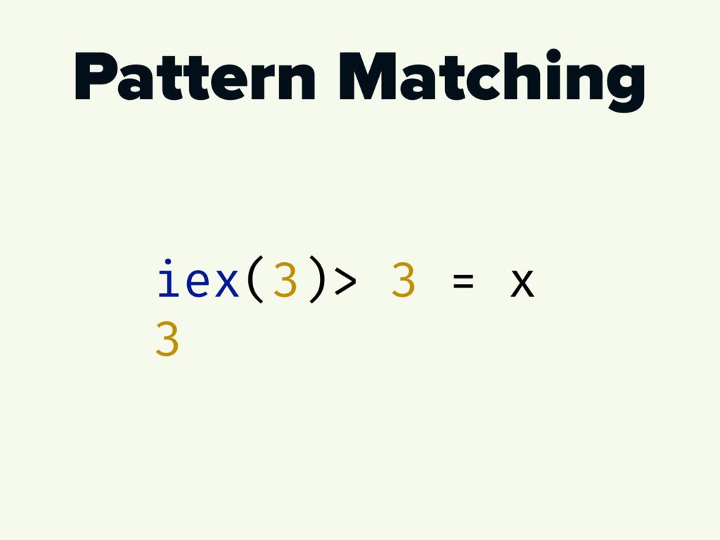 Pattern Matching iex(3)> 3 = x 3