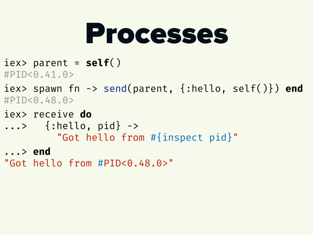 Processes iex> parent = self() #PID<0.41.0> iex...