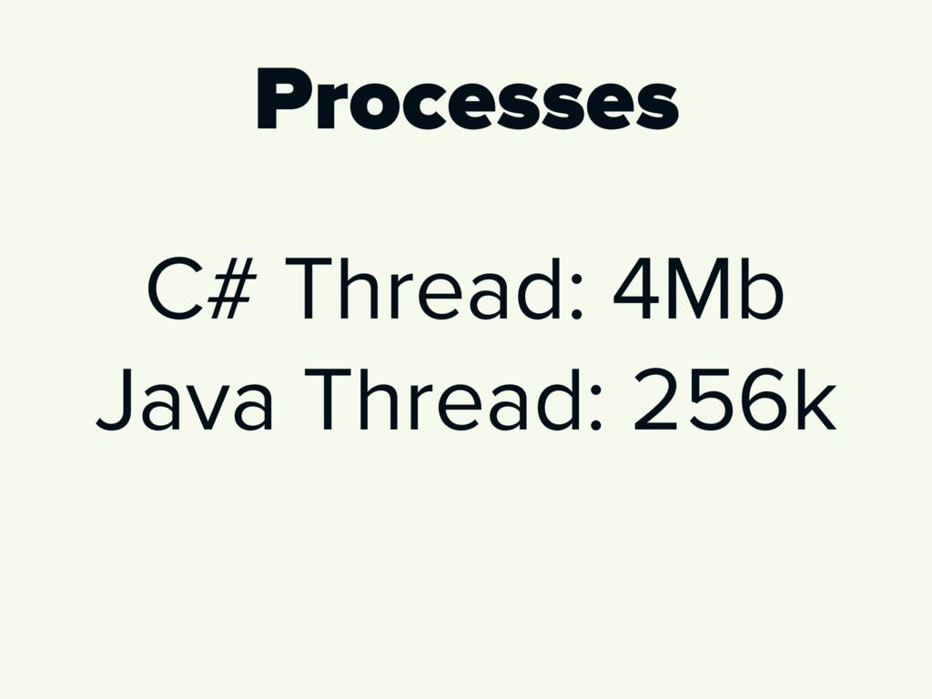 Processes C# Thread: 4Mb Java Thread: 256k