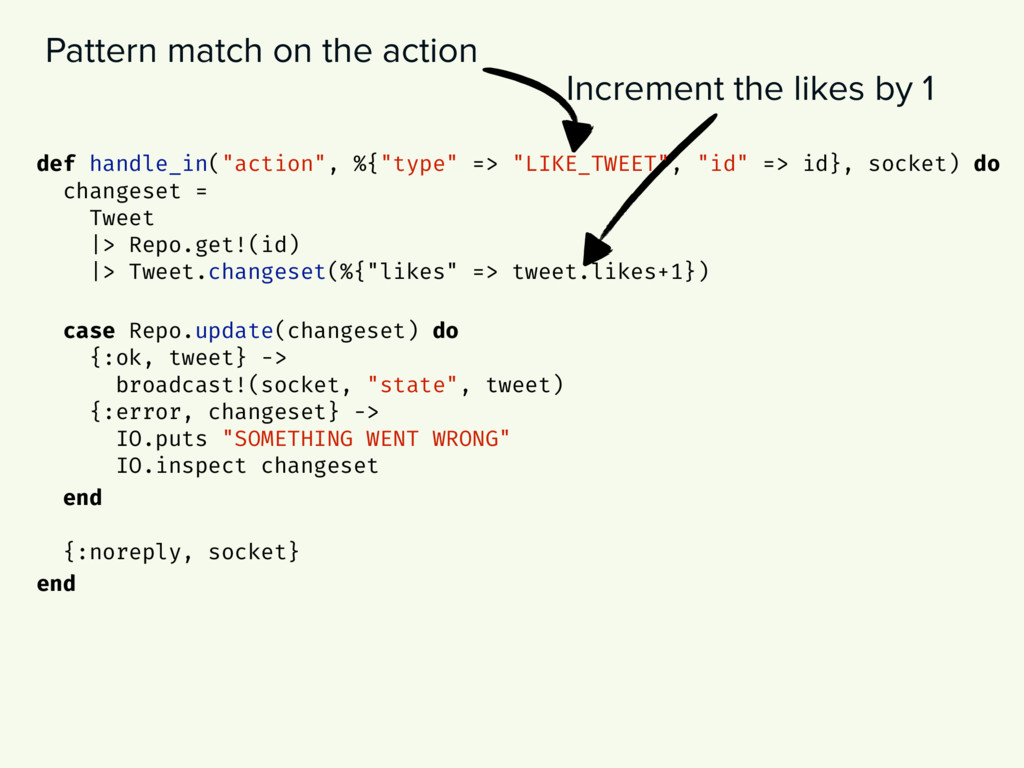Increment the likes by 1 Pattern match on the a...