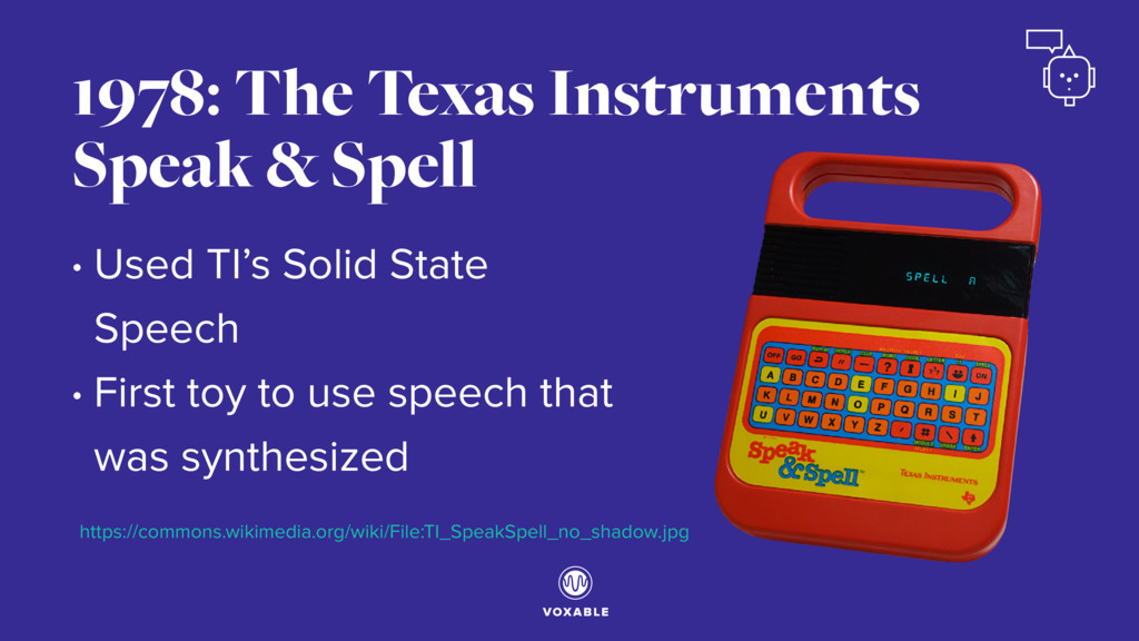 • Used TI's Solid State Speech • First toy to u...