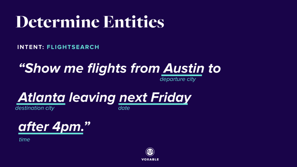 "Determine Entities ""Show me flights from Austin ..."