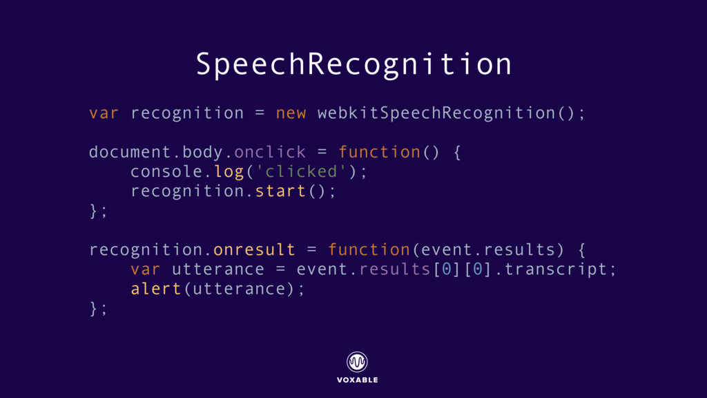 SpeechRecognition var recognition = new webkitS...