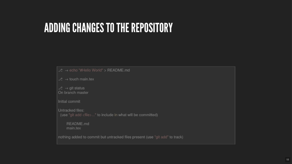 ADDING CHANGES TO THE REPOSITORY 11