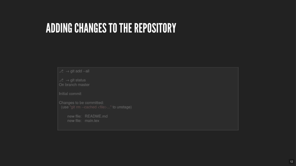 ADDING CHANGES TO THE REPOSITORY 12