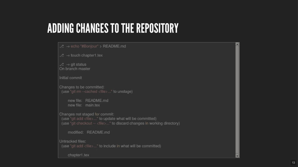 ADDING CHANGES TO THE REPOSITORY 13