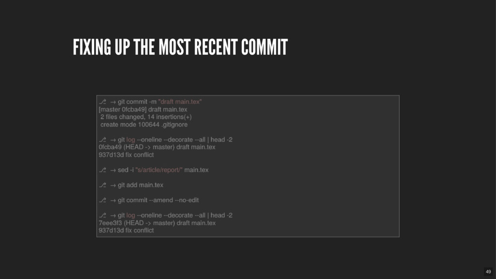 FIXING UP THE MOST RECENT COMMIT 49