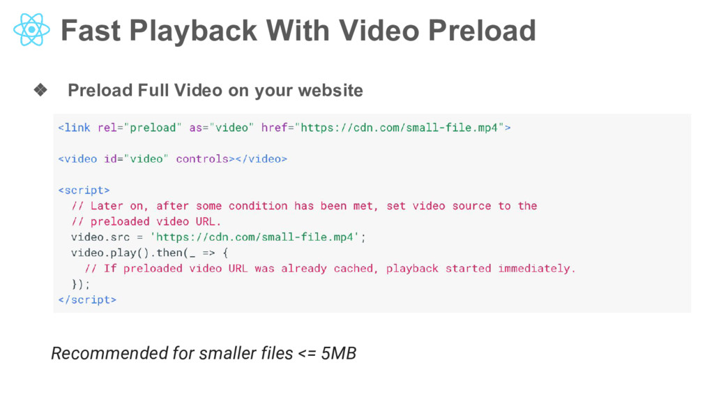 Fast Playback With Video Preload ❖ Preload Full...
