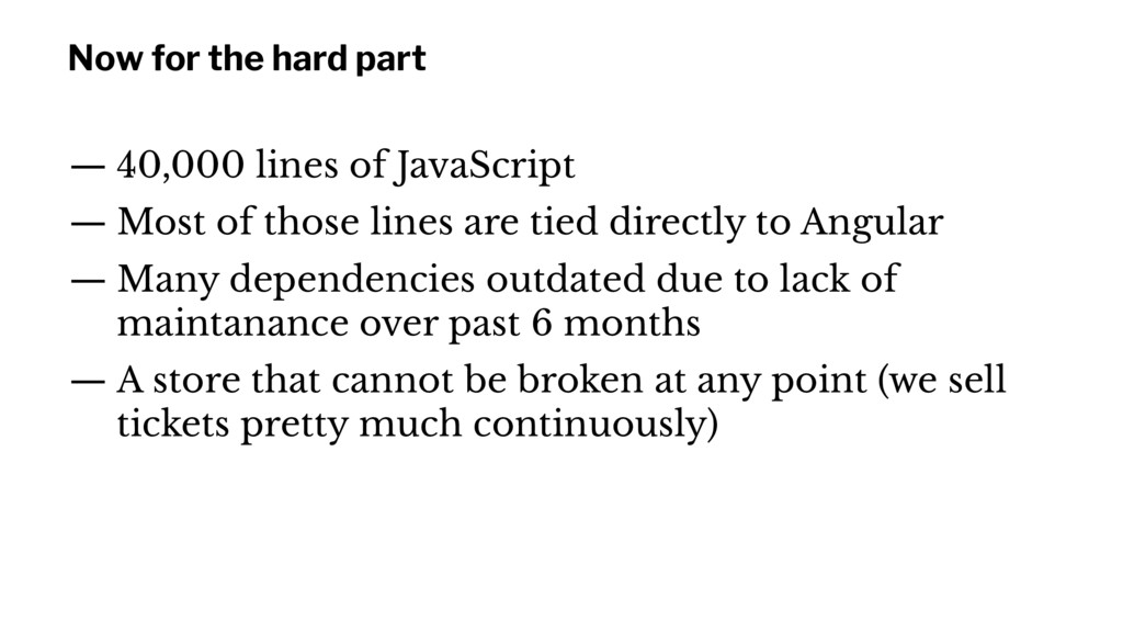 Now for the hard part — 40,000 lines of JavaScr...