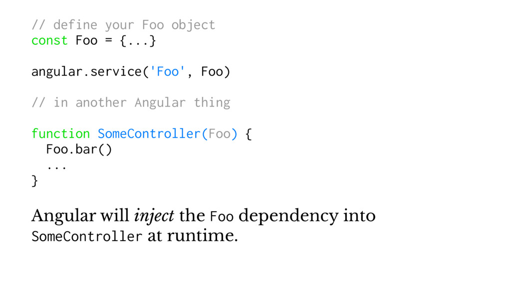 // define your Foo object const Foo = {...} ang...